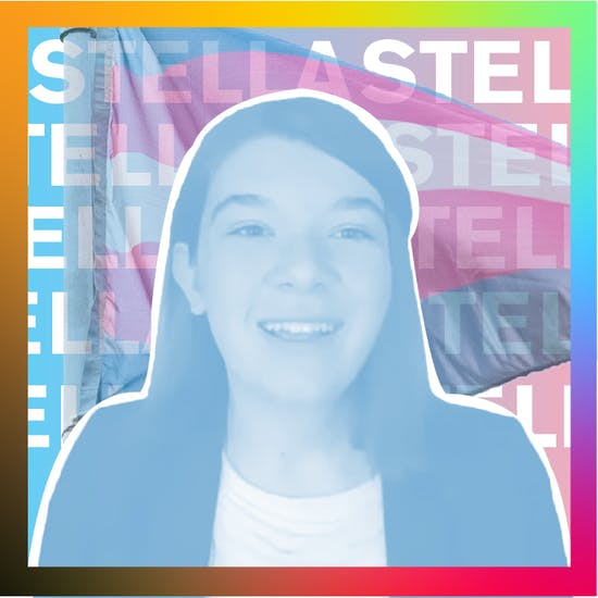 Stella Keating with trans flag in background