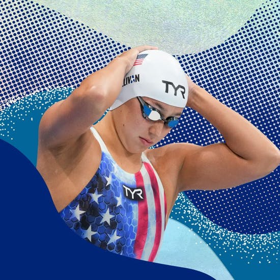 Erica Sullivan of the U.S. swim team in a background of varied colors and textures.