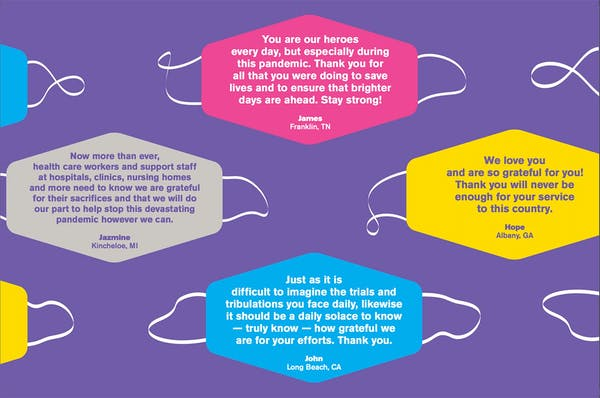 Image of quotes showing appreciation for healthcare workers during COVID..