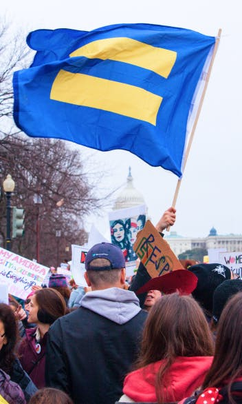 A large HRC flag is waved above a crowd marching toward the US Capitol building.