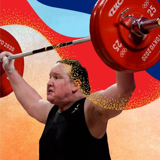 Action shot of weightlifter Laurel Hubbard in a background of varied colors and textures.