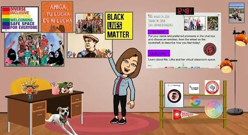 Animated classroom with a woman pointing to wall with posters, including a black lives matter poster and rainbow flag