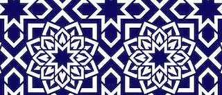 Blue and white design resembling a tile pattern, Queer Midrash