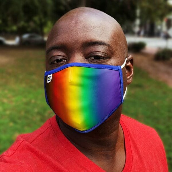 Rainbow face mask with HRC logo