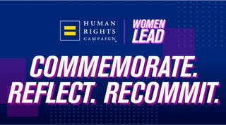 Graphic image with blue background and text: Commemorate. Reflect. Recommit.
