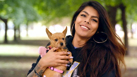Alexis Abarca and her Chihuahua.
