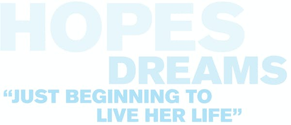 """Text that reads: Hopes Dreams. """"just beginning to live her life"""""""