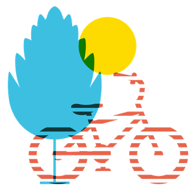 Illustration of a bicycle, tree, and sun.