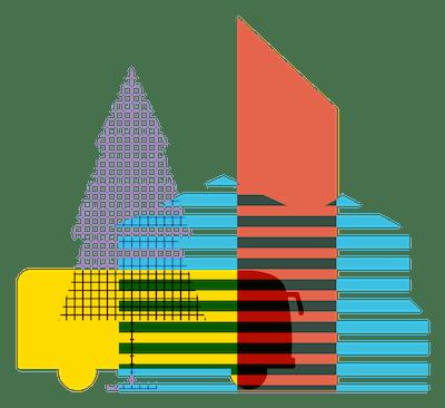 Illustration of a multicolored cityscape