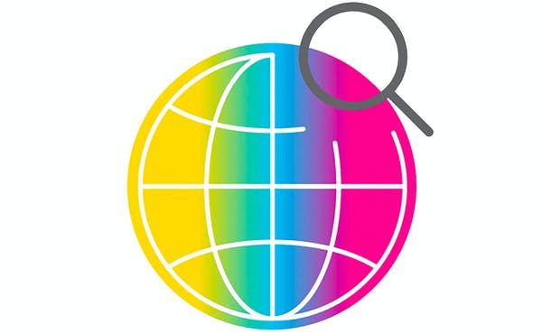 Graphic: Rainbow colored globe with search icon