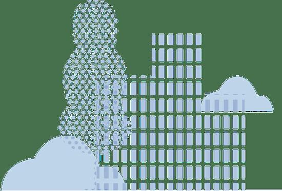 Illustration of a light blue cityscape