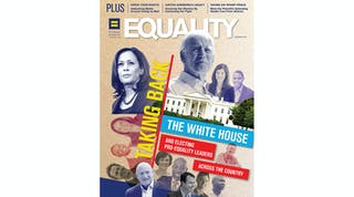 Cover of the summer 2020 issue of Equality magazine featuring Joe Biden, Kamala Harris and other HRC-endorsed candidates