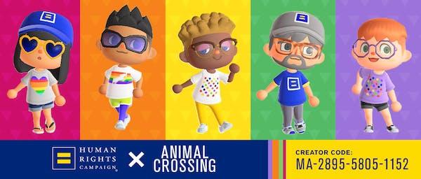 Animal crossing characters wearing HRC t-shirts. HRC + Animal Crossing. Creator Code: MA-2895-5805-1152