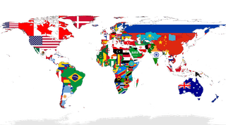An illustrated map of the world, with each country's flag inside its borders.