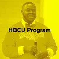"""A Black man in a Savannah State sweatshirt addresses a crowd (not pictured). Text overlay reads """"HBCU Program"""""""