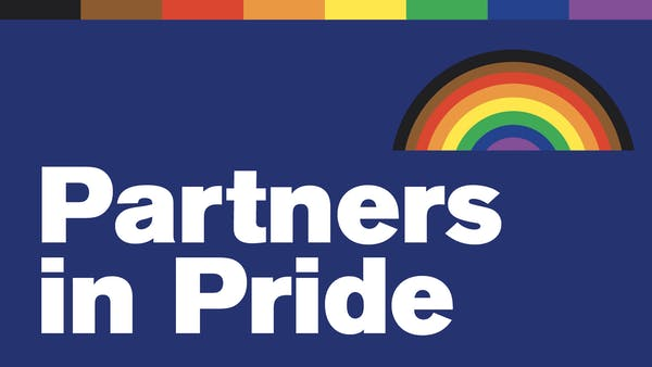 """Illustration of a rainbow. Text reads """"Partners in Pride"""""""