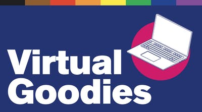 """Illustration of a laptop. Text reads """"Virtual Goodies"""""""