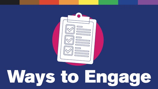 """Illustration of a clipboard. Text reads """"Ways to Engage"""""""