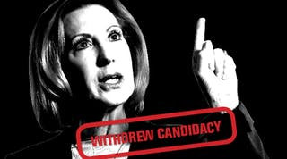 """Carly Fiorina, red text reads """"Withdrew Candidacy"""""""