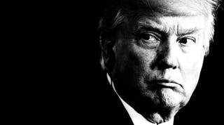 Trump looking over his shoulder