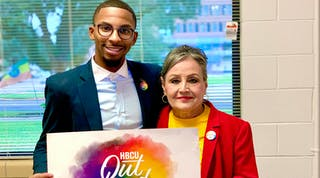 Rishard Butts, and Ms. Evie Myers, PVAMU's Director of International Program at 2019 #HBCUOutLoud Day