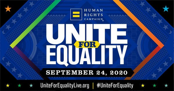Image showing HRC's logo, Unite For Equality, September 23, and the website uniteforequalitylive.org and hashtag #UniteForEquality. Image is a blue diamond with a rainbow border.