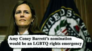 """Screencap from new HRC video - caption says """"Amy Coney Barrett's nomination would be an LGBTQ rights emergency"""""""